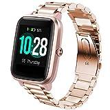 LvBu Armband Kompatibel mit ID205L, Classic Edelstahl Uhrenarmband für ID205L/ willful SW021/ YAMAY SW021/LIFEBEE ID205L/PUTARE ID205 Smartwatch (Roségold)