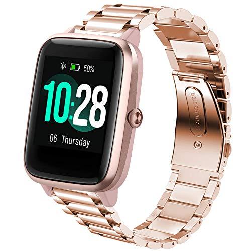 LvBu Armband Kompatibel mit ID205L, Classic Edelstahl Uhrenarmband für ID205L/ willful SW021/ YAMAY SW021/LIFEBEE ID205L Smartwatch (Roségold)