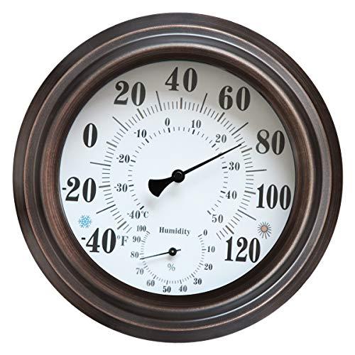 Lumuasky - Termómetro higrómetro para interior y exterior, 20 cm, estilo retro, metal, hogar, jardín, decoración, temperatura colgante y humedad