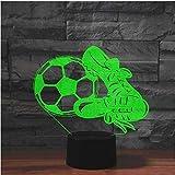 Fútbol y zapatos Lámpara 3D 7 colores Chanign USB LED Luz de noche Juguete Hogar Dormitorio al lado de la decoración Lámpara de mesa Deportes Ni?o Regalo de a?o nuevo
