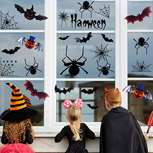 FEPITO Halloween Party Decoration New Decal Spider Web Decorations Black Spiders Decal Window Clings Wall Sticker DIY PVC 3D Decorative Bats Stickers,78 Pack