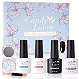 Candy Lover Gel Nail Polish Functional Kit 4 Bottles 2 Boxes, Top & Base coat Matte Top Coat...