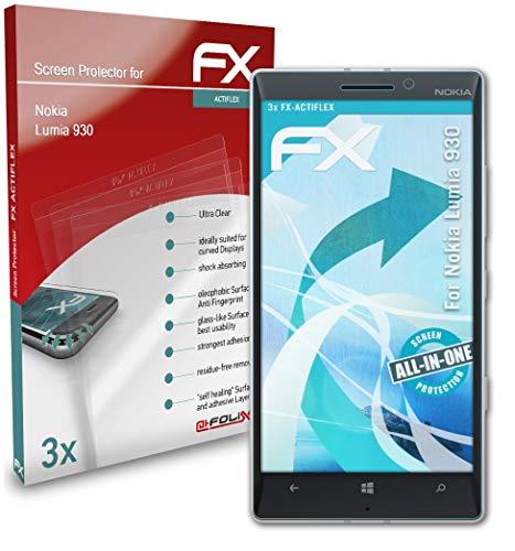 atFolix Schutzfolie kompatibel mit Nokia Lumia 930 Folie, ultraklare & Flexible FX Bildschirmschutzfolie (3X)