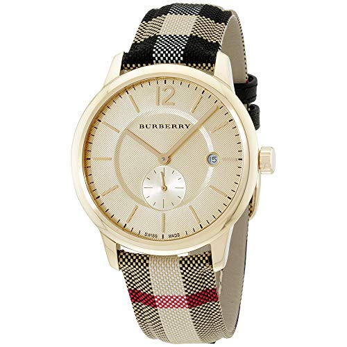 Burberry Gold Dial Stainless Steel Textile Multi Quartz Ladies Watch BU10001
