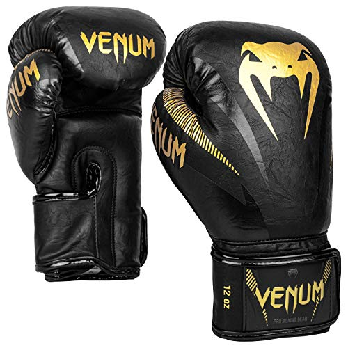 Venum Unisex– Erwachsene Impact Boxhandschuhe, Schwarz/Gold, 16 oz