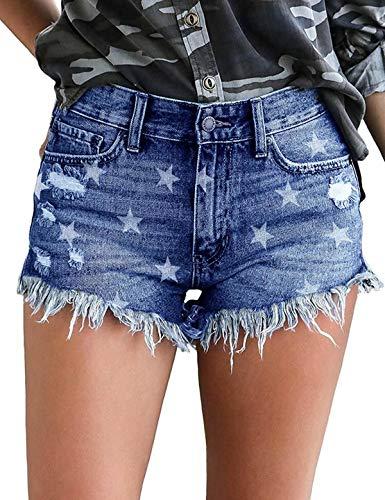 Govc Womens Jean Shorts Mid-Rise Frayed Raw Hemline Ripped Denim Short Jeans(DarkBlueStar,L)