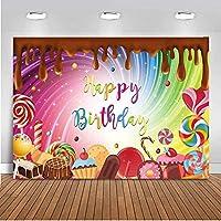 新しいチョコレートの誕生日の背景誕生日の背景のための10x7ftの甘いキャンディーのテーマパーティーロリポップカップケーキキャンディーランドの写真の背景