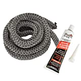 Stanbroil Graphite Impregnated Fiberglass Rope Seal and High Temperature Cement Gasket Kit Replacement for Wood Stoves - 1/2' x 84'