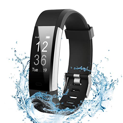 Ginsy Fitness Tracker, Fitness Watch with Heart Rate Monitor Waterproof Bluetooth Pedometer Wristband Sleep Monitor Smart Watch for iOS Android Smart Phone (Black)