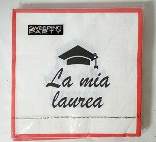 SWEEPING PARTY LA MIA Laurea TOVAGLIOLI 20 Pz. 33 X 33 cm Festa Party ALLESTIMENTO Buffet, 33X33