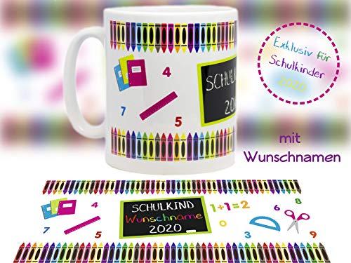 Tasse mit Motiv Einschulung Schulkind 2020-1 Keramik optional mit Wunschname personalisierbar/tolles Geschenk / - Schulbeginn - Schulanfang - Schultüte