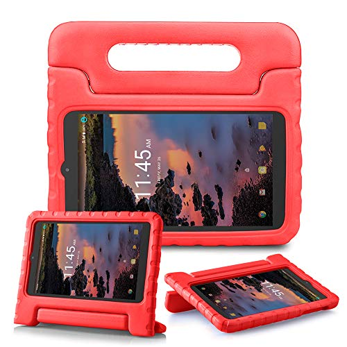 SIMPLEWAY Alcatel 3T 8 Tablet Case Model 9027W(2018), Case for Alcatel Joy Tab(2019) / Alcatel A30 8 Inch Model 9024W (2017), Kids Tablets Cases EVA Foam Shockproof Light Weight Cover - Red
