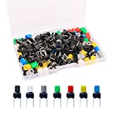 Gebildet 84Pcs 6×6×8mm Momentary Tactile Tact Push Button Switch with Button Caps of 7 Color,Each Color 12pcs(Black,Red,Blue,Yellow,White, Green,Gray) for Breadboard Arduino