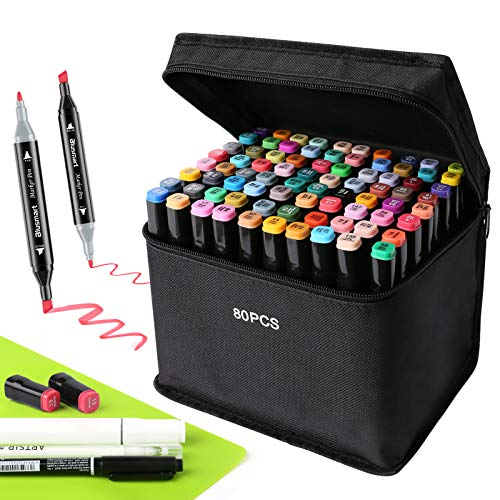 Blusmart Graffiti Pen Set, 80 Colours,Twin-Tip Highlighter,Greasy Mark Colours,Marker Pens Set for Students,Artist Pen Manga Set,Sketching and Painting