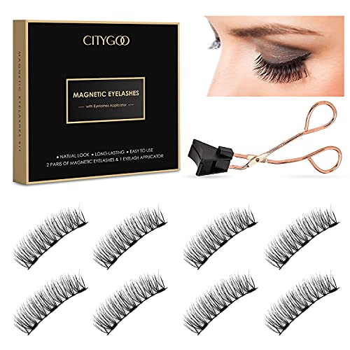 Dual Magnetic Eyelashes, Magnetic Lashes without Eyeliner, No Glue Needed, Best 3D Reusable False Eyelashes with Applicator, Light weight & Easy to Wear(2 Pairs/ 8 PCs)