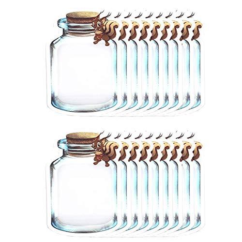 SovelyBoFan Bolsa de Tarro de MasóN de 50 Piezas Bolsa Sellada Linda Forma de Botella Bolsa de Embalaje de Desodorante Reutilizable Ardilla 17X24Cm