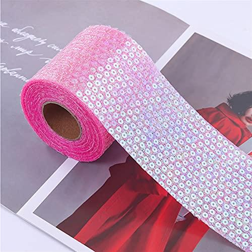 AJULING 10yards 80mm Coloful Lentejuelas Lentejuelas Tull Roll Organza Cinta Bricolaje Decoración de Regalo de Material de Tocado decoración (Color : Hot Pink, Size : 8CM)