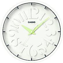 """ساعة حائط انيقة من """"كاسيو"""" انالوج بعقارب لون ابيض IQ-64 (ابيض/أخضر)"""