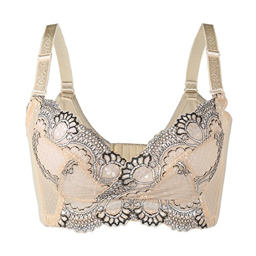 uxcell Women Floral Lace Front Scalloped Push Up Thin Cup Wireless Bra Beige 75C