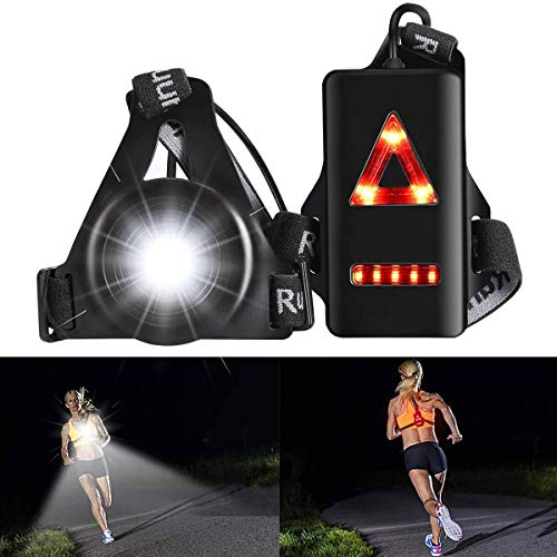 ALOVECO Outdoor Night Running Lights LED Chest Light Back Warning Light with Rechargeable Battery for Camping, Hiking, Running, Jogging, Outdoor Adventure