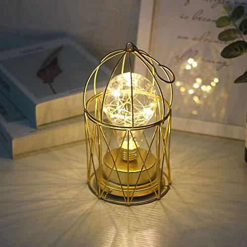 Wankd Metall Tischlampe, Glühbirne Nachtlicht Nachttischlampe Stehlampe,Batteriebetrieben Nordic Vogelkäfig Style Eisen Schreibtischlampe kreative Nachtlicht dekorative Beleuchtung (Warmes weiß)