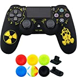 9CDeer 1 Piece of Silicone Laser Carving Protective Cover Skin + 6 Thumb Grips & Dust Proof Plugs for PS4/Slim/Pro Controller Fallout
