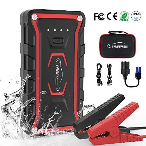 YABER Booster Batterie Voiture, 1500A 20000mah Booster de Batterie Voiture Moto (Toute Essence, jusqu'à 7.0L Diesel) avec Deux Lamp LED,Deux Ports USB à Charge Rapide 3.0