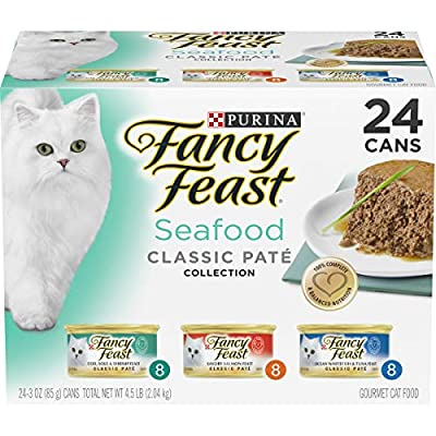 Purina Fancy Feast Grain Free Pate Wet Cat Food Variety Pack, Seafood Classic Pate Collection - (24) 3 oz. Cans