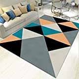 AU-SHTANG Alfombra Ducha Antideslizante Azul, Gris triángulo patrón de Desgaste...