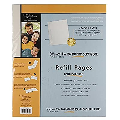 C.R. Gibson Scrapbook Top Loading Refill Pages, 3 Packs of 5 Sheets - 8.5 In. X 11 In.