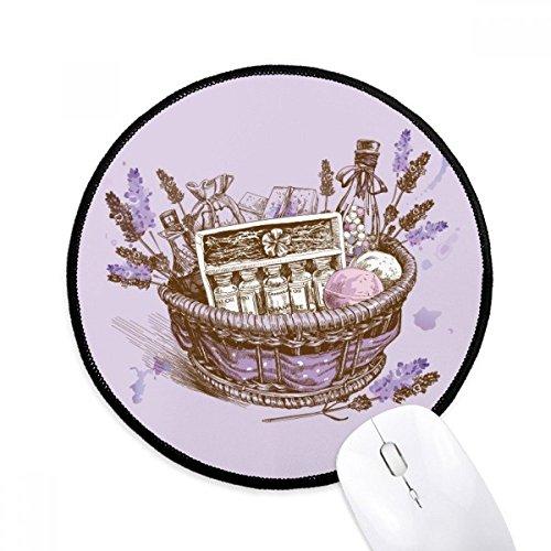 Bloemen Plant Schilderij Present lavendel Mand Ronde Antislip Mousepads Zwart gestikte randen Game Office Gift