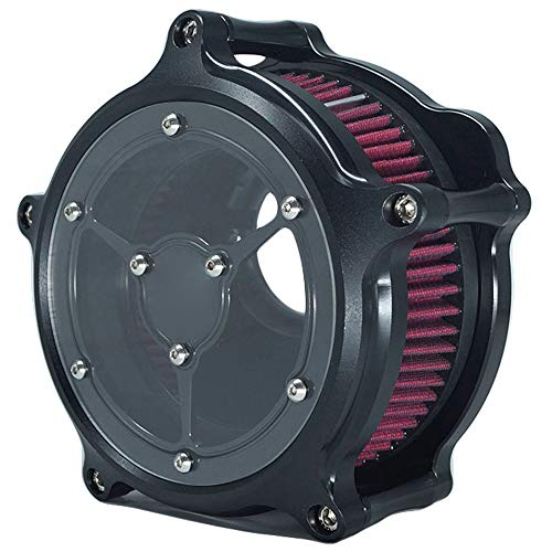 Luftfilter Motorrad Air Filter Clarity See Through Cleaner System Intake Kit Cnc Black für Harley Dyna 2000 - 2017 Softail 2000 - 2015 Touring 2000 - 2007 Einbau - Design B - Rot