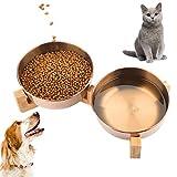 Dorakitten Cuenco del Perro, Comedero Doble Gato Tazón Elevado para Mascotas de Acero Inoxidable - con Soporte de Bambú para Perros/Grandes Felinos