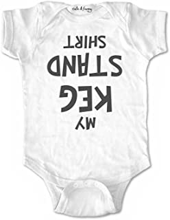 My keg Stand Shirt Cute Funny Baby one Piece Bodysuit Infant Clothing (6 Months, White)
