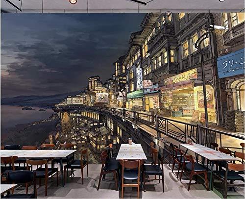 ZYLBDNB Art Mural de pared, personaliza cualquier papel pintado a mano con dibujos animados japoneses de la calle de Osaka japonesa de la calle de Osaka, 140X70.5CM