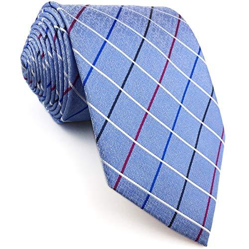 S&W SHLAX & WING Azure geruit heren stropdas pak bruiloft nieuw