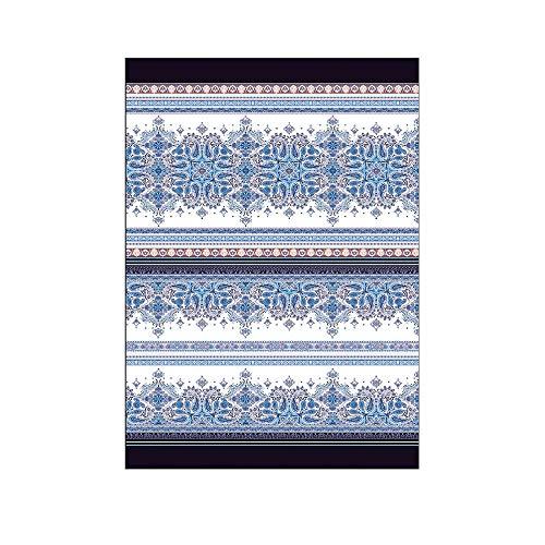 Novia - Tela decorativa para sofá, 260 x 260 cm | Gran foulard para sofá, cubresofá y multiusos (cubre sillones, colchas, cortinas, picnic) | telas grandes de algodón y poliéster – Karima azul