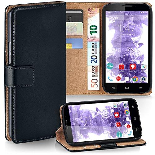 MoEx® Funda Cartera [protección 360°] Compatible con Vodafone Smart 4 Power   Cierre magnético, Noir