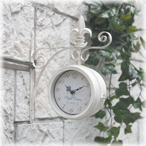 洋風 アメリカン 壁掛式 両面クロック (S) ホワイト 掛け時計 アンティーク風