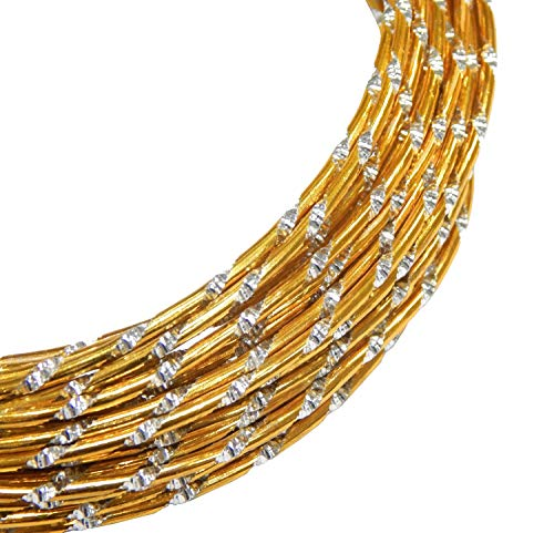 Aludraht 2mm Gold Diamant Effekt, 5 Meter Aluminiumdraht, Perlendraht, Schmuckdraht, Lackdraht, Meterware C106