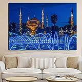 Danjiao Ic Azul Turquía Estambul Sultan Ahmed Cartel Religioso Pintura Arte De La Pared Para La Decoración Del Hogar De La Sala De Estar (Sin Marco) Sala De Estar Decor 60x90cm