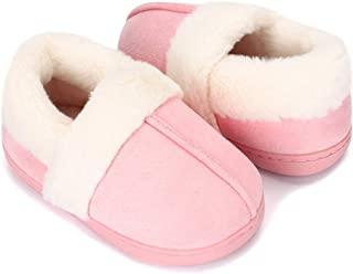 ESTAMICO Boys Girls Faux Fur Lined Suede House Slippers Cozy Memory Foam Slippers Breathable Indoor Outdoor Moccasins