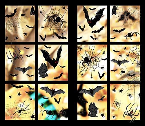 COOLON Halloween Fledermaus Aufkleber - Halloween Fenster Aufkleber Set,Schwarze Fledermäuse Spinnennetz Halloween Dekoration Abziehbilder,Für Party Haus Fenster Wanddekoration