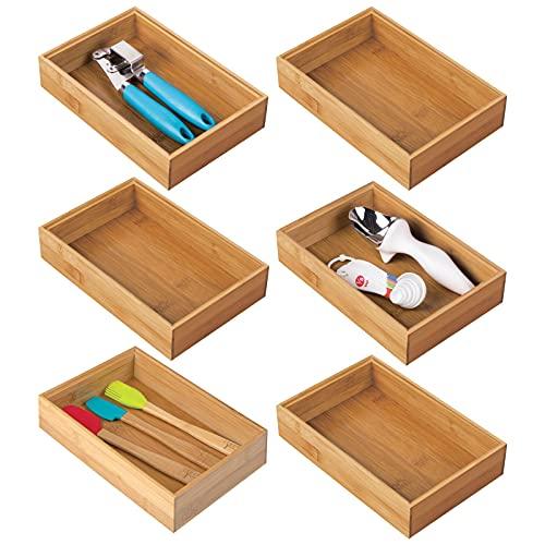 mDesign Set da 6 box contenitori per la cucina – Scatola bambù rettangolare – Organizer cucina impilabili da cassetto ideali per posate e utensili – colore naturale