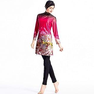 ملابس سباحة مسلم بسيط للنساء ملابس سباحة إسلامية للنساء ملابس بحر بدلة سباحة. (اللون: أحمر، المقاس: XX-Large)