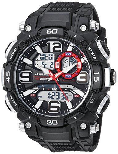 Relógio masculino Armitron Sport analógico-digital cronógrafo com pulseira de resina, Preto