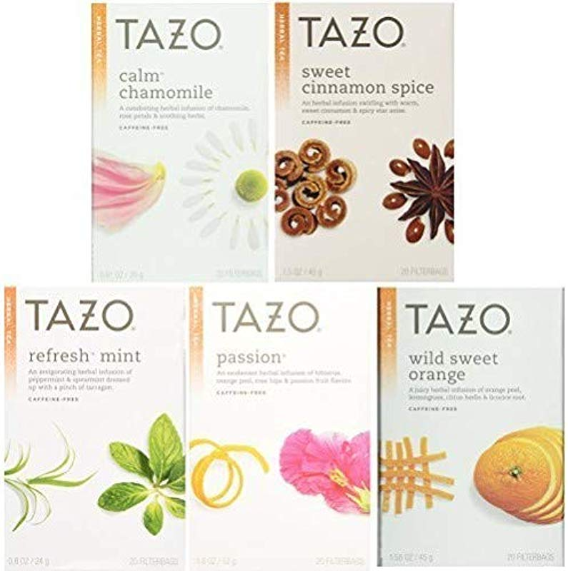 Tazo Herbal Tea 5 Flavor Variety Pack Sampler Pack Of 5 100 Bags Total
