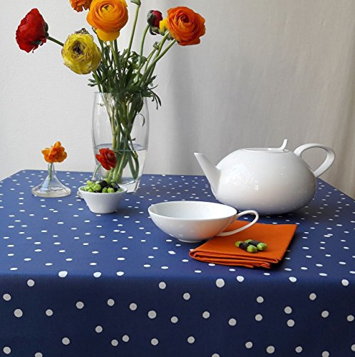 Fleur de soleil ~ Nappe Confettis Bleu Marine Coton Enduit ourlée Ronde Ø160