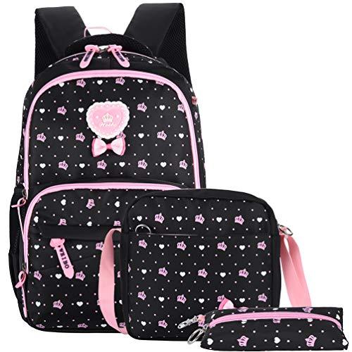 Vbiger Schulranzen Mädchen Schulrucksack Schultasche Rucksack Kinder Daypack 3 Teile Set für Schule und Freizeit (Schwarz1)