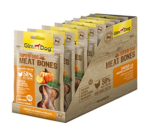 GimDog Superfood Meat Bones Hühnchen mit Kürbis und Nori-Alge - Mono-Protein Hundeleckerli mit hohem Fleischanteil - 8 Beutel (8 x 70 g)